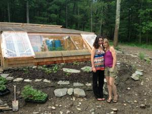 Susanna and I in front of her greenhouse